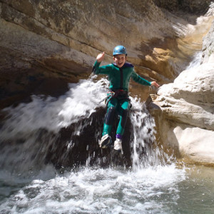 Canyoning - flipping up off the toboggan