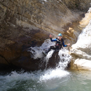 Canyoning in the Alps -  a flying toboggan