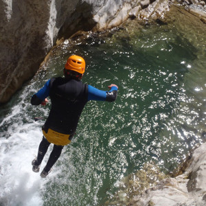 Canyoning in the Alps - jumping in
