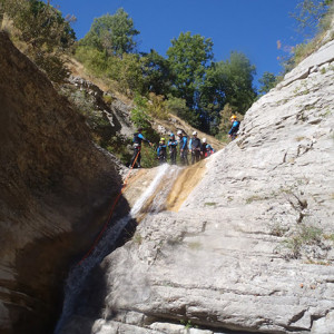 Canyoning at the top of the slide
