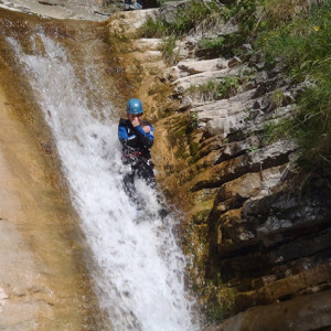 Canyoning in the alps coming down