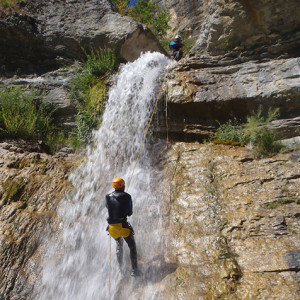 Canyoning and abseiling a waterfall