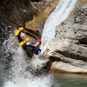 Canyoning on a really fast toboggan