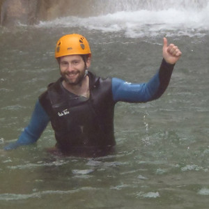 Canyoning thumbs up in the mist
