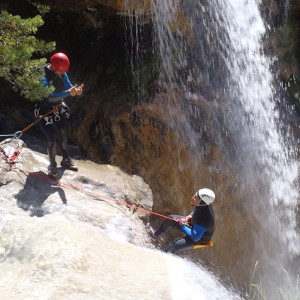 Canyoning big waterfall