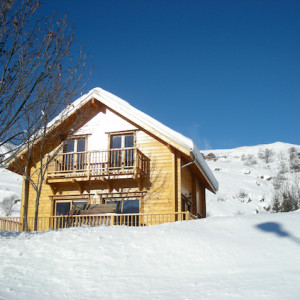 The Counit Chalet near Orcieres ski resort in the Alps in winter