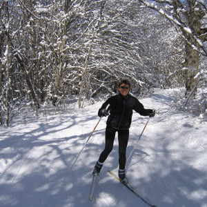 Cross Country ski skating through the woods