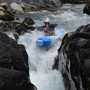 kayaking in the Southern french Alps on the Bonne