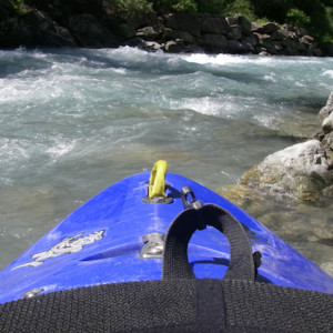 Kayaking in the Southern french Alps launching into the river