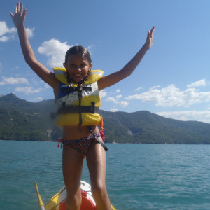 Lake Kayaking on the Lac du Serre Poncon - girl in