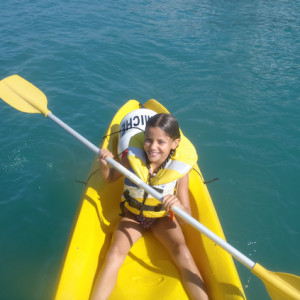 Lake Kayaking on the Lac du Serre Poncon - girl pa
