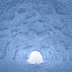 Inside an igloo in the igloo village in orcieres