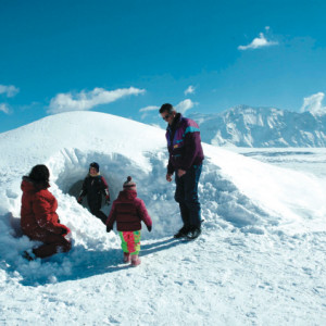 Family at the igloo village in Orcieres