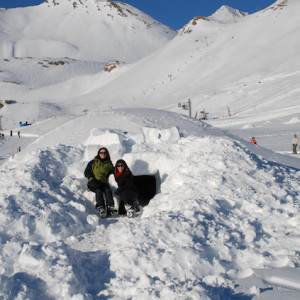 Looking at the igloos in the igloo village