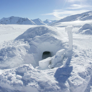 An igloo in the igloo village in the Alps