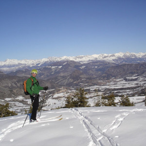 Ski Touring with view of Ecrins behind