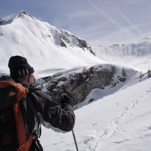 Ski touring  skinning up with view ahead