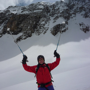 Ski Touring poles in the air