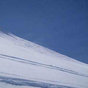 Ski Touring marks in the snow