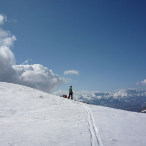 Ski touring off into the distance