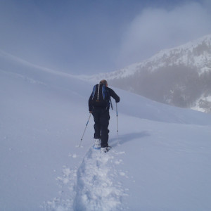 Snowshoeing into the mist