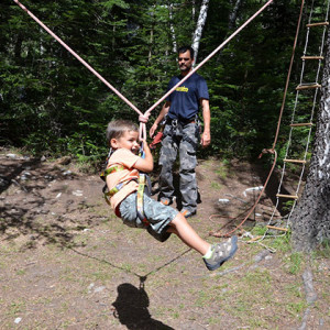 Tree Climbing rope swing with 4 year old