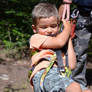 tree climbing 4 yr old in rope swing close up