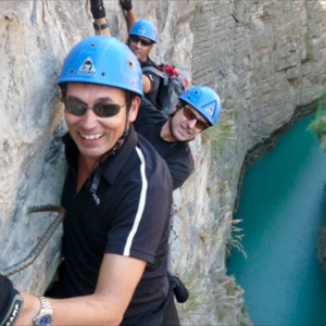 Via ferrata Sautet smiles and view of river below