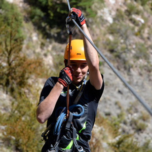 Via Ferrata with tyro leans zip wire on an activity holiday in the Alp