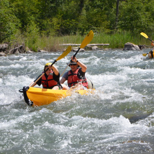 Kayaking the Durance river in the Alps