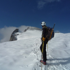 on the glacier mountaineering in the Ecrins in the Alps