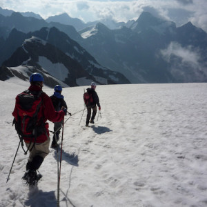 Mountaineering on a glacier Ecrins