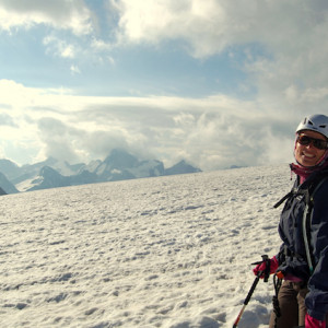 Mountaineering smile on glacier