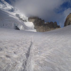 mountaineering tracks in the glacier