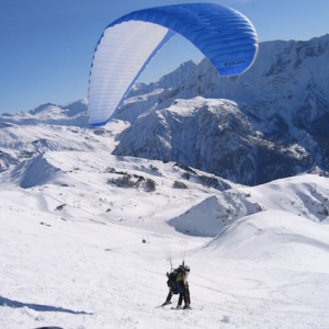 paragliding in the winter