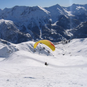 Paragliding in the Alps in winter