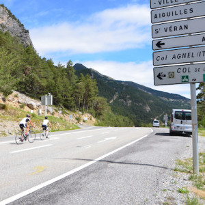 Road cycling to the col d izoard in the Alps