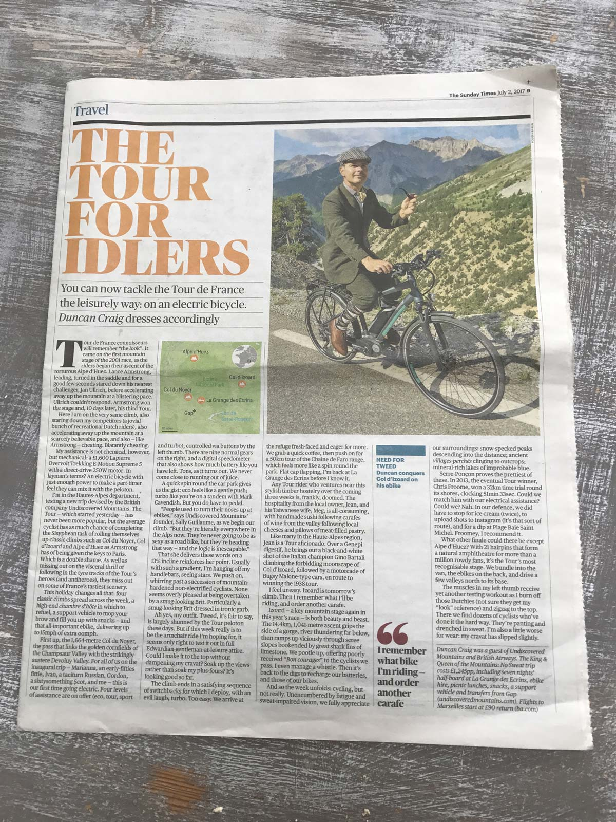 Sunday Times E-biking article by Duncan Craig