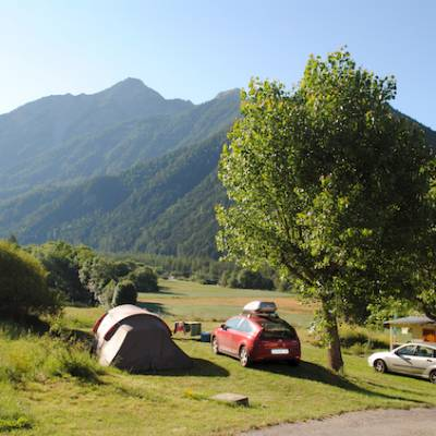 Camping in the Southern French Alps with mountain views