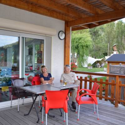 Camping in the Southern French Alps sitting on the sun terrace