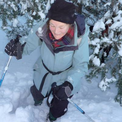 Snowshoeing in deep snow