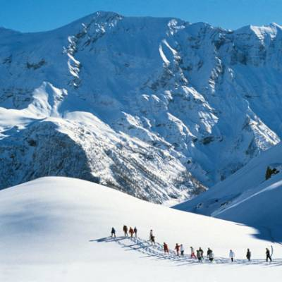 Snowshoeing at altitude in the Alps