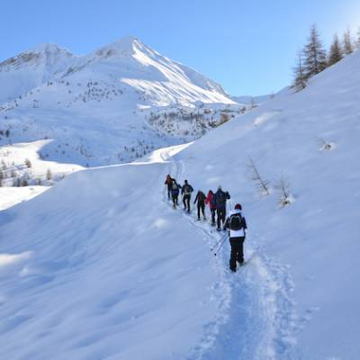 snowshoeing up to piolit in the Alps