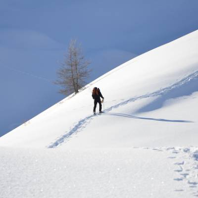 snowshoeing in the french Alps