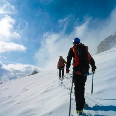 traversing glacier