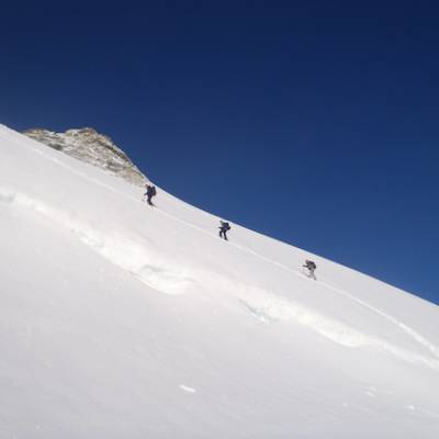 walking up the glacier to dome des ecrins