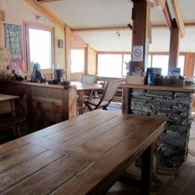 Inside Refuge de la Blanche in winter