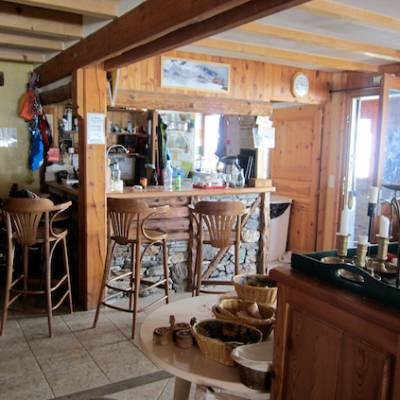 Bar in Refuge de la Blanche in winter