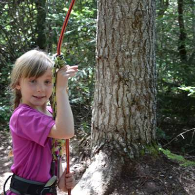 Tree Climbing - child belaying