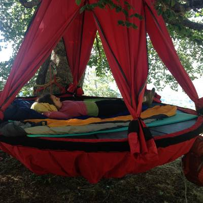 Tree climbing and sleeping in a tree tent in the Alps